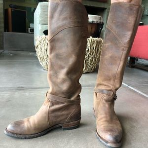 Tall brown leather Frye boots. Perfect condition.
